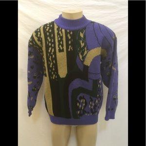 VTG 80s Goouch Men's Size Medium Purple Sweater